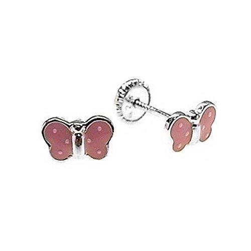 Pendientes plata Ley 925m motivo mariposa rosa esmaltada [AB5306]