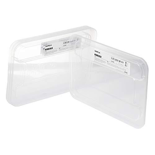 Ikea Samla - Tapas de plástico transparentes, 28 x 20 cm, para cajas de 5 litros, 4 unidades