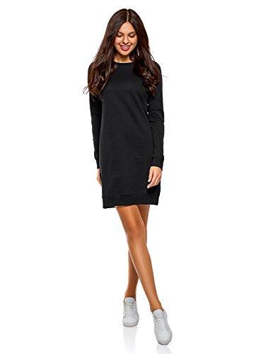 oodji Ultra Damen Kleid Basic im Sport-Stil, Schwarz, S