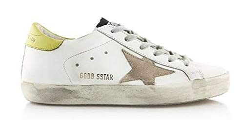 Golden Goose Men's Casual Sneakers Leather GGDB Leopard-Print Casual Shoes Slide Yellow