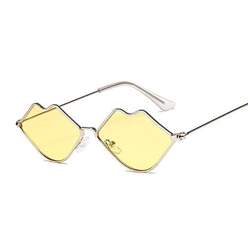 Heigmznvtyj Gafas de Sol Mujer Polarizadas, Pequeños Gafas de Sol de Marco Mujeres Retro Espejo de Labios Metal Gafas de Sol Mujeres Retro (Lenses Color : Silver Yellow)