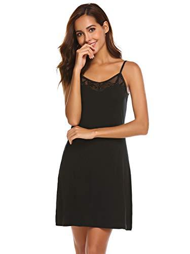 Meaneor_Fashion_Origin Damen Nachthemd Kurz Spaghettiträger Negligee Spitze Nachthemd V-Ausschnitt Nachtkleid Sexy Nachtwäsche Sleepwear (M(EU 38-40), Schwarz)