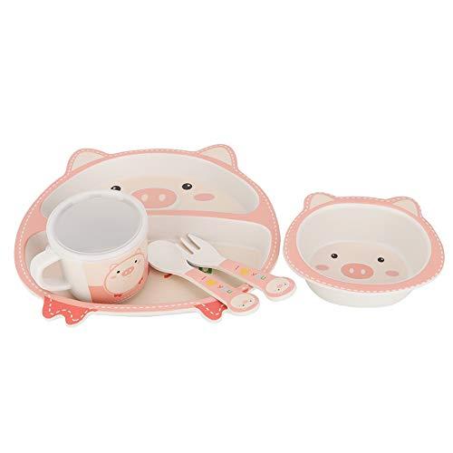 Regalo de cumpleaños de fibra de bambú, lindo juego de platos para niños, juego de alimentación para la hora de la comida, niñas para niños pequeños(Love pig)