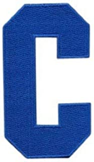 CustomPatches Hockey Style Patch Royal Blue C Patch (Captain) Iron On for Jersey Football, Baseball. Soccer, Hockey, Lacro...