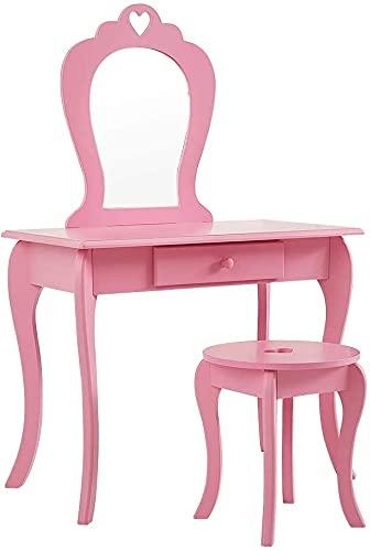 Colorstone Tocador para niñas con espejo y taburete, tocador para niños, muebles de maquillaje para dormitorio, vestidor, habitación de los niños (rosa)