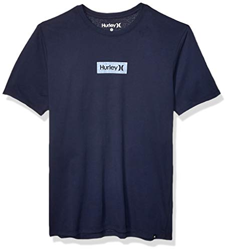 Hurley Men's Dri-Fit Box Logo Short Sleeve Tshirt, Obsidian, XL