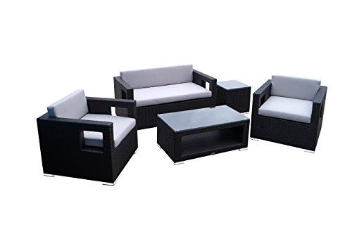 Beherzig MOBILI da Giardino in Rattan Salotto Gruppo - Classico. Elegante. Confortevole. - Negro. Alluminio. Design Quadrato. Cuscini 10 cm. - Lounge Set