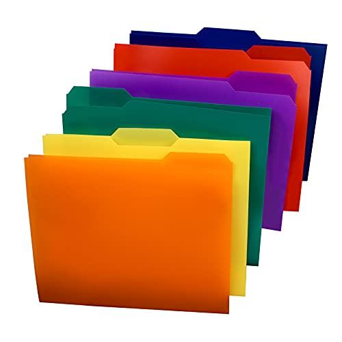 SUNEE Plastic File Folders (6 Assorted Colors, 18 Packs) 3 Tab File Folders Letter Size, 1 3-Cut Tab, Durable Folder, for File Classification