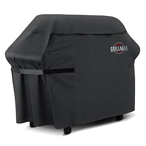 Grillman Premium BBQ Grill, Heavy-Duty Barbecue Cover for Weber, Brinkmann, Char Broil etc. Rip-Proof, UV & Water-Resistant (58 Inch/147 cm), Black