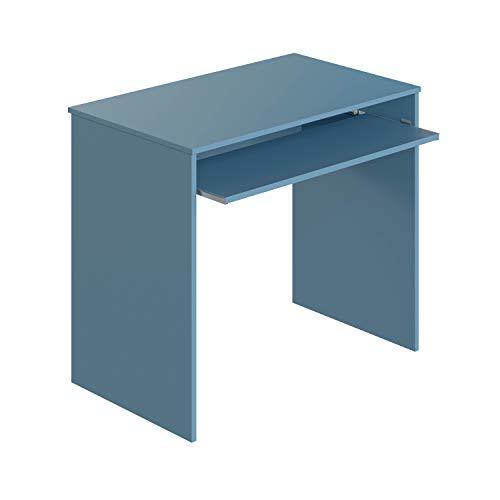 Habitdesign Mesa de Ordenador con Bandeja extraíble, Mesa Escritorio Juvenil, Modelo I-Joy, Color Azul WIC, Medidas: 90 cm (Ancho) x 54 cm (Fondo) x 79 cm (Alto)