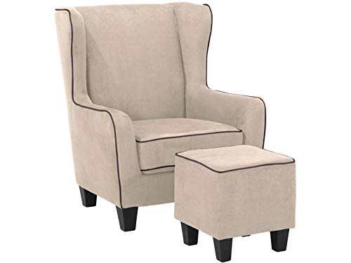 Loft24 A/S Sessel mit Hocker Ohrensessel Polstersessel Armsessel Fernsehsessel Lesesessel Vintage gepolstert (Creme, Microfaser)