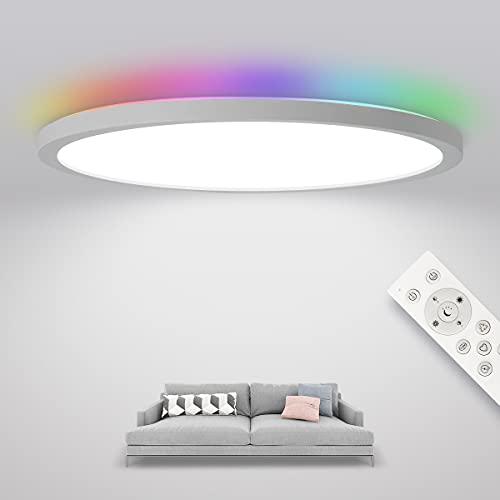 SHILOOK LED Deckenleuchte Rund Flach Panel Dimmbar mit Backlight in RGB-Farbwechsel, 24W IP44 Deckenlampe mit Fernbedienung, 3000K-6500K 2400lm, 29cm Weiß, 2.5cm Ultra Dünn Modern