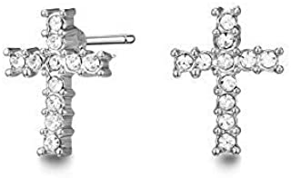 Mestige Cross Earrings with Swarovski® Crystals (Silver) Gifts Women Girls, Classic Stud Earrings, Cross