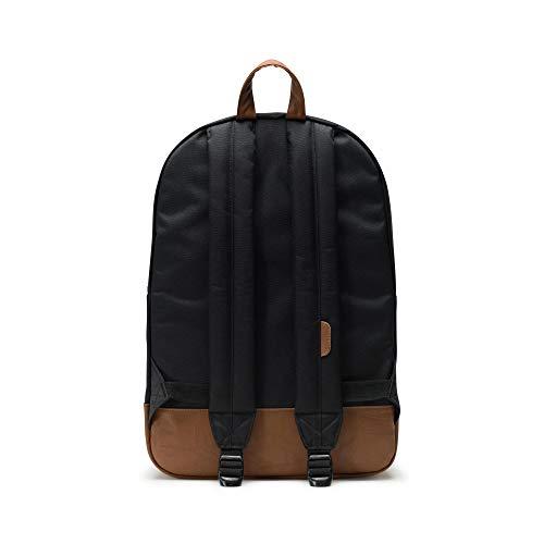 Herschel Heritage Backpack, Black / Saddle Brown, Classic 21.5L