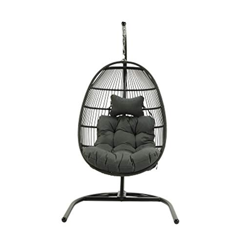 SXLML Hanging Egg Chair Outdoor Wicker Hanging Basket Chair with Light Gray Water Resistant Cushions and Brown Iron Base