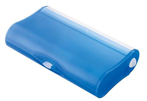 HAN 996-64 Schul-Etui 3-Fach COOL, Geniale Schlamperbox mit 3 Fächern und Pinnwand, transluzent-blau- weitere Farben auswählbar
