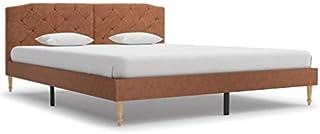 Tidyard Lit avec Matelas en Tissu Construction Solide Design Elégant Marron 160 x 200 cm