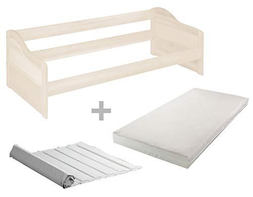 BioKinder Spar-Set Nico Funktionsbett Sofabett mit Roll-Lattenrost und Biotrio Matratze aus Massivholz Kiefer 90 x 200 cm weiß lasiert