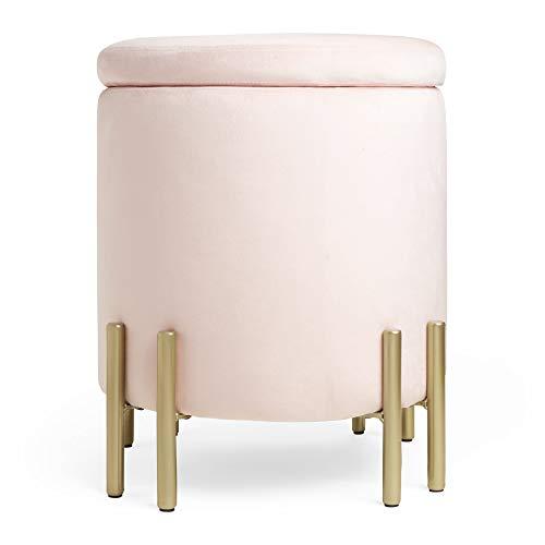 Mooi roze fluwelen opslag voetbank voetenbank Ottomaanse kruk, ronde poef doos voor dressing tafel, slaapkamer of woonkamer
