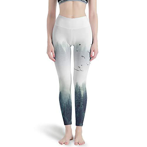 Huffle-Pickffle Pantalones de yoga con diseño de árbol de Navidad, cómodos y divertidos, para la playa, Mujer, Blanco, xx-large