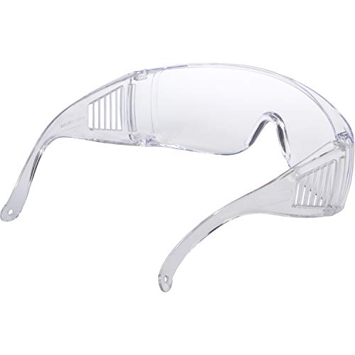 Morris Products High Impact Safety Glasses, Goggles – Fits Over Prescription Glasses – Clear Frame, Lens, Max UV Protection – Side Shields, Anti-Glare Brow Guard, Scratch Resistant