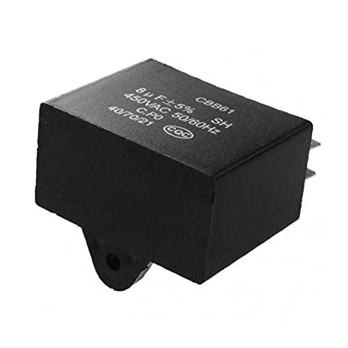Jorzer Cbb61 Capacitor De Ventilador De Techo, 450vac 8uf 4 Terminales Fan Motor De Ventilador Capacitador Black 1pc