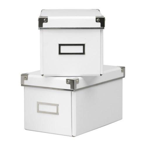 KASSETT CDボックス ふた付 / ホワイト 2ピース IKEA イケア