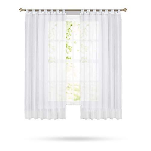 Samine Weißer Vorhang mit Schlaufen, Gardinen aus Leinen, transparent, 2 Stück, 140 x 175 cm