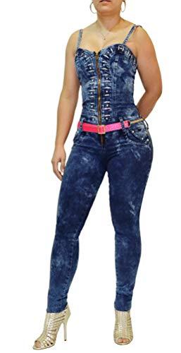 Pantalón Vaquero Enterizo para Mujer Levanta Cola Colombiano Jeans Denim Push Up