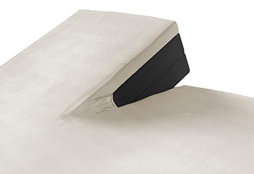 SLEEPMED 2er Pack Jersey Split Topper beige, Spannbettlaken 180 x 200 cm für Boxspringbetten aus Baumwolle, antiallergischer Matratzenbezug mit Schlitz