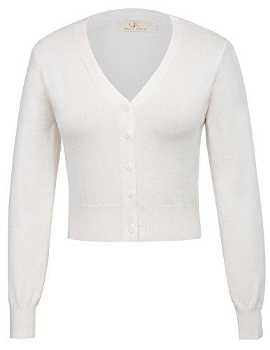 Gilet Court Vintage en Tricot Pull Manche 3/4 Veste Ouvert Bolero pour Robe de Soiree Blanc 2XL CL2000-2