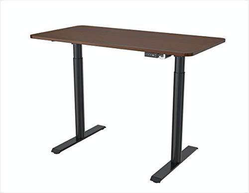 SpassWay Escritorio ergonómico de altura regulable, eléctrico, completo con placa de mesa, 1200 x 600 mm, carga máxima de hasta 80 kg, patas redondas (marrón)