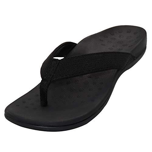 Sandalias ortopédicas con soporte de arco para mujer, sandalias ortopédicas para fascitis plantar, pies planos y dolor de pies, color Negro, talla 41.5/42 EU