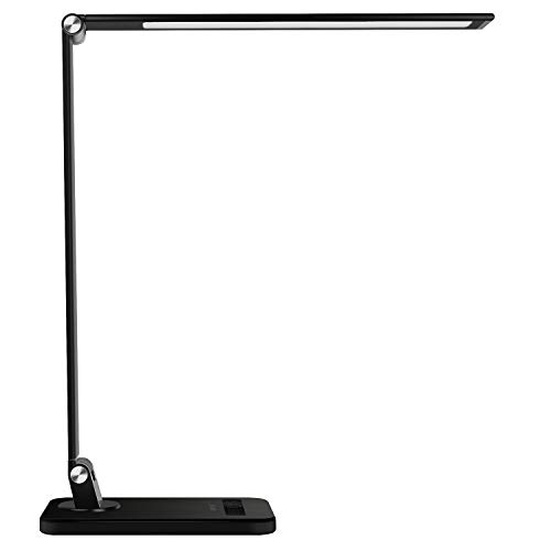 MEIKEE LED Desk Lamp Aluminum Dimmable Table Lamp 5 Lighting Models with 8 Brightness Levels Touch Control and Memory Function 30/60min Auto Timer 5V/1A USB Charging Port 12W Black