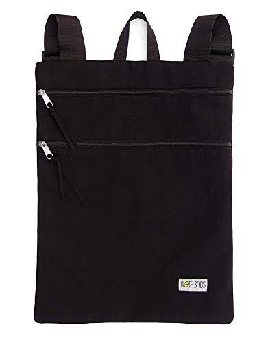 Mochila plana de tela, mochila unisex color negro con cremal
