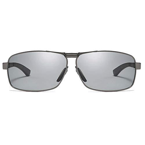 Hancoc Caja Nuevo Antideslumbrante Material Metálico UV400 Gafas De Sol Negro/Plata/Armazón De Pistola Hombres Conduciendo Conduciendo Gafas De Sol (Color : Gun)