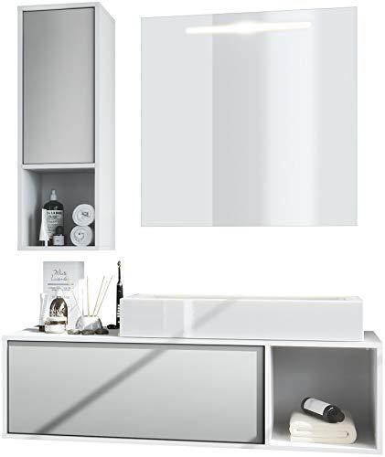 Conjunto de Muebles para baño La Costa, Cuerpo en Blanco Mate/Frentes en Gris Claro Satinado con Lavabo y Espejo LED