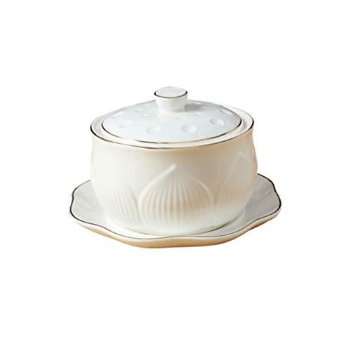 Olla acero Nido de cerámica Copa Guiso sopa de cocido al vapor Postre de pájaro Guiso Cuenco Cuenco con tapa de cerámica de vapor Crisol de guisado de Soup Bowl Crisol de guisado con tapa y vapor arc