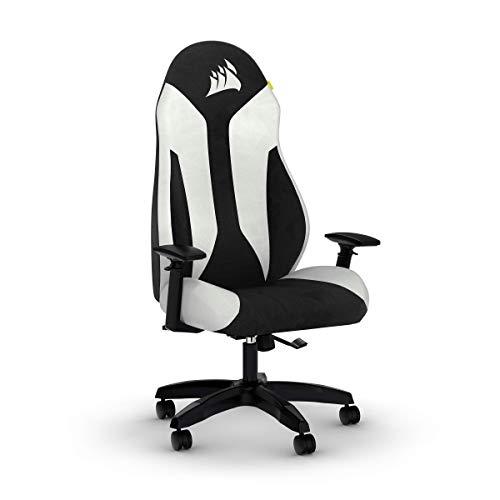 Corsair TC60 FABRIC Gaming-Stuhl (Entspannte Passung, Atmungsaktiver Weicher Stoffbezug, Integrierte Lendenstütze aus Schaumstoff, Vielseitig Verstellbare Armlehnen, Leicht zu Montieren), Weiß