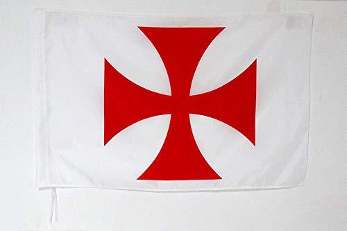AZ FLAG Drapeau Templiers Ordre du Temple 90x60cm - Drapeau Croix pattee Rouge 60 x 90 cm Fourreau pour hampe