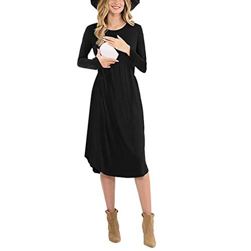 Chaconka Robe de Grossesse Mi-Longue à Manches Longues Couleur Unie Robe Maternité Tunique d'allaitement Maternité Automne pour Femmes Enceintes Robe de Grossesse Soirée Cocktail Cérémonie Elegante