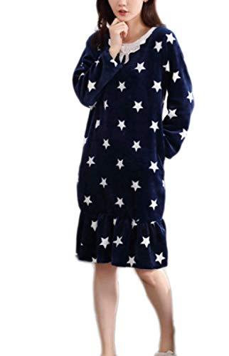 ADELINA dames flanel comfortabele pyjama zachte warme lichtgewicht douchecabine modieus Completi mode schattige jurk jas blauw vrije tijd vrije tijd