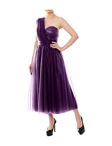 Stillluxury B4 Wandelbare Brautjungfernkleider Teelänge Tüll Abendkleid für Frauen Hochzeit Party Gr. 42, grape