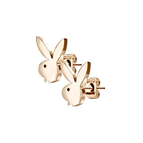Luxe Modz - Par de pendientes de acero inoxidable quirúrgico con diseño de conejo Playboy, 20 GA