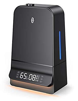 TaoTronics Humidifiers 6L Cool Mist Humidifier with Humidistat LED Display 26dB Whisper Quiet Wide Opening Humidifier for Large Bedroom Black TT-AH044