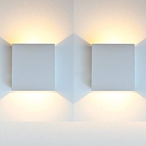 Aplique Pared Interior LED, 2 Pcs Aluminio Lámpara de pared Moderna 7W Blanco Cálido perfecto para La Sala De Estar Dormitorio Baño Cocina Comedor (Blanco)
