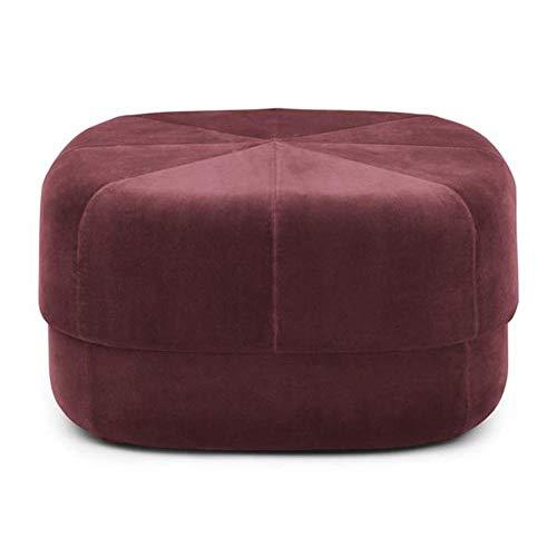 FSYGZJ taburetes de Banco de Zapatos Puf de Tambor de Gamuza cepillada Porto - Reposapiés cilíndrico de Lujo - Reposapiés Redondos (Color: Rojo violáceo, tamaño: 60 * 35cm)