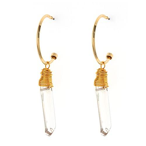 DFDLNL Regalos Pendientes Colgantes Chapado en Oro Cristal curativo Cuarzo Forma de lápiz Pendientes Colgantes de aro Redondo