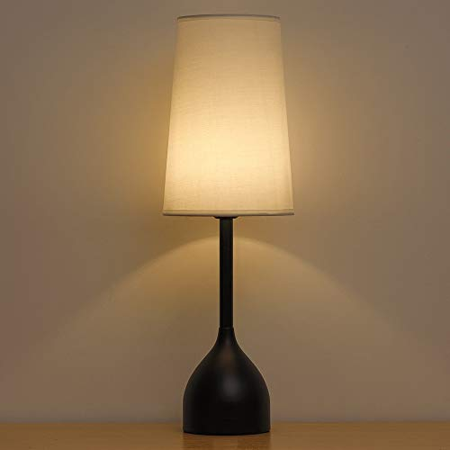 Lámparas de mesita de noche elegantes vintage con base redonda de metal, lámpara de mesa contemporánea negra, lámparas de mesa de noche altas con pantalla de tela para sala de estar