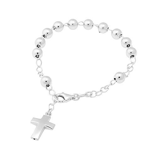 inSCINTILLE I Rosari Bracciale Rosario 5mm in Argento rodiato con Croce Pendente